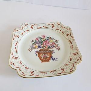 "Mottahedeh 8"" square plate flower bouquet rare"